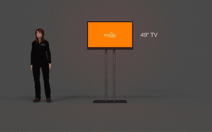 """Choosing right TV screen size - graphic of person standing beside 49"""" tv screen"""