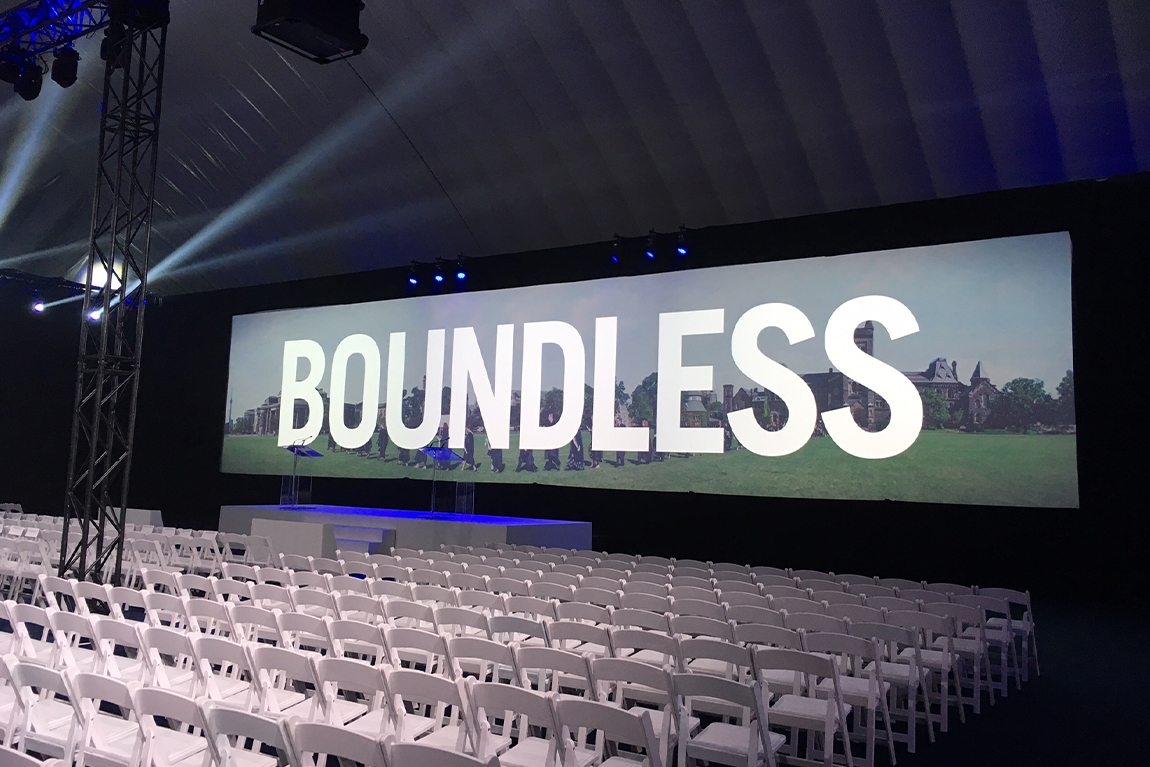 stage and venue set-up for Boundless event