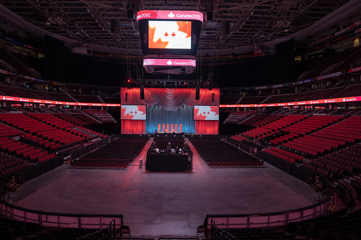 Stage and arena set-up for Canada 2020's conversation with Obama