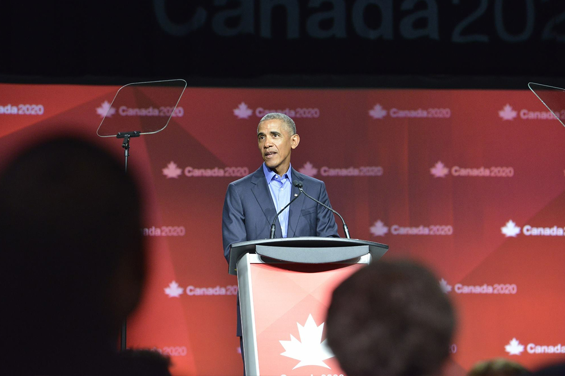 Barack Obama speaking at Canada 2020