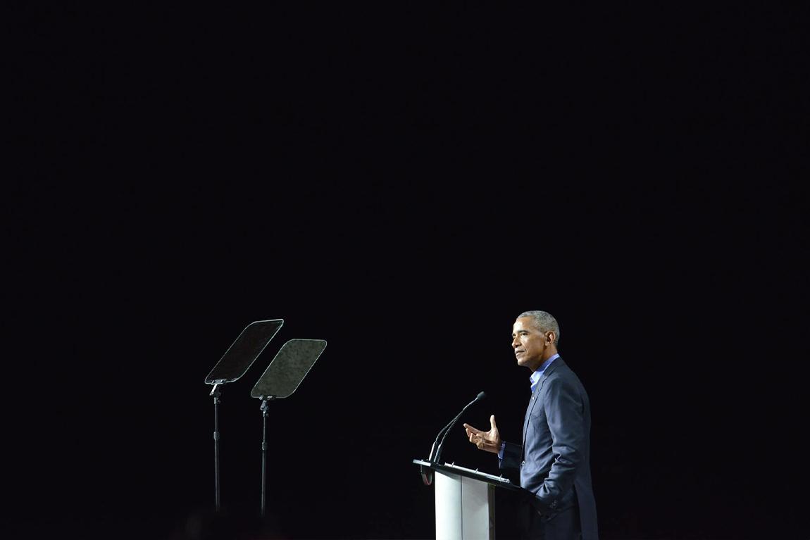 Barack Obama behind podium at Canada 2020