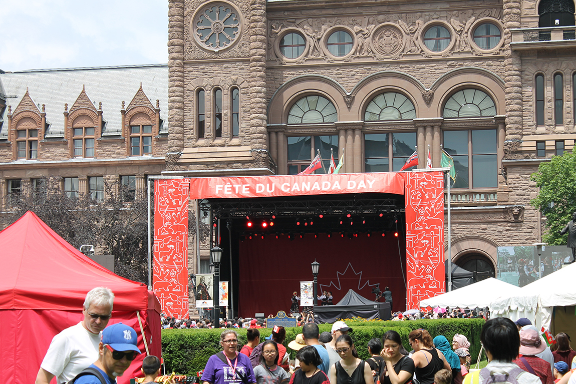 Crowd and stage at Fete Du Canada Day event