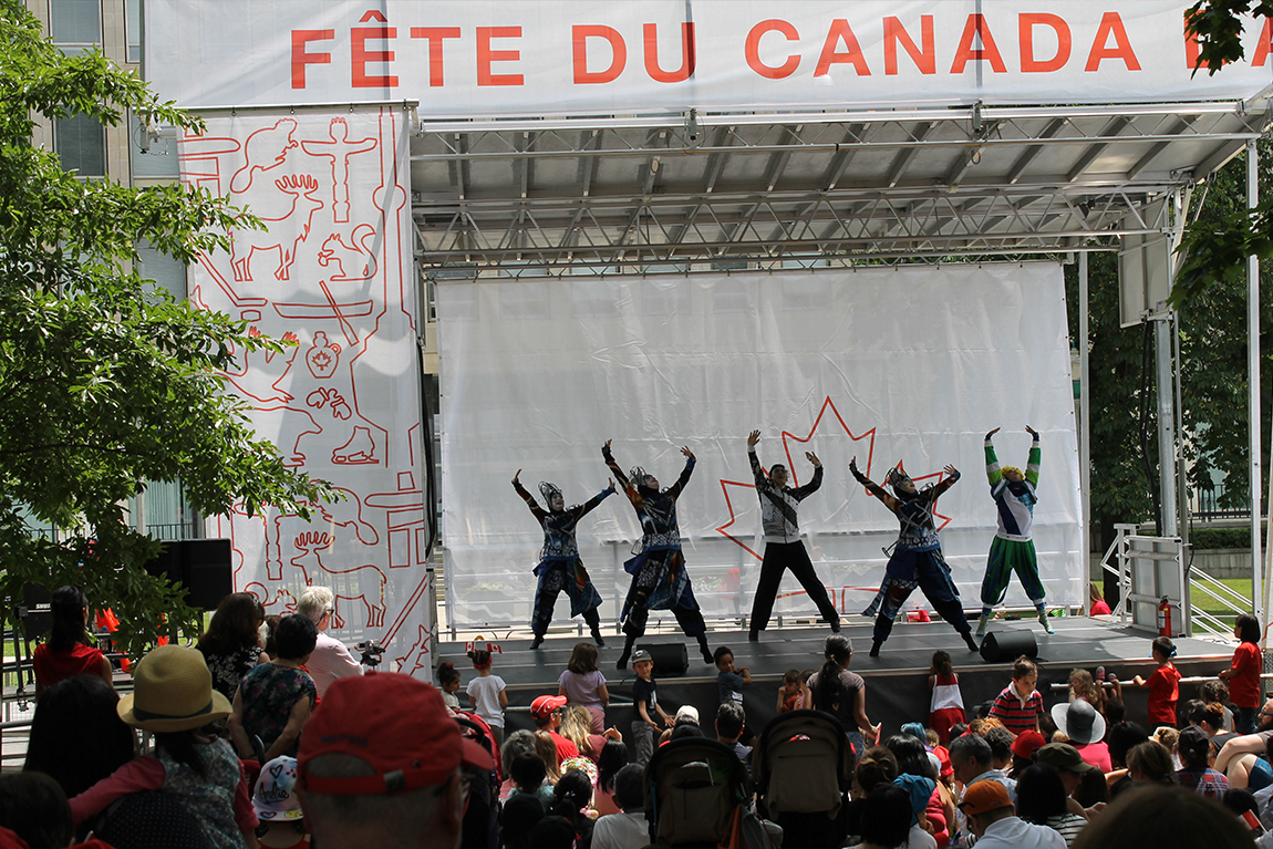 Dancers performing at Fete du Canada stage