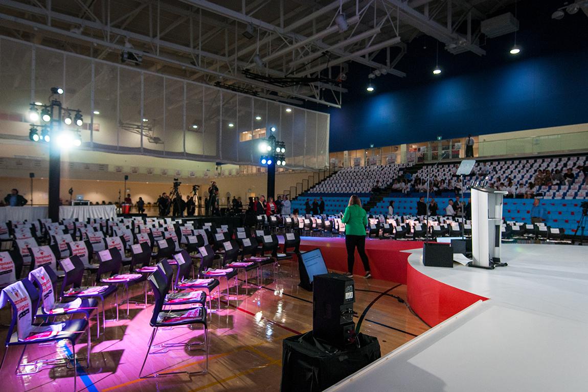 venue set-up at Canadian Tire Jumpstart Announcement