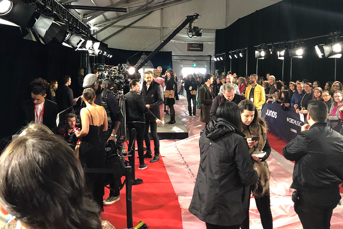 JUNO Awards red carpet with media on side