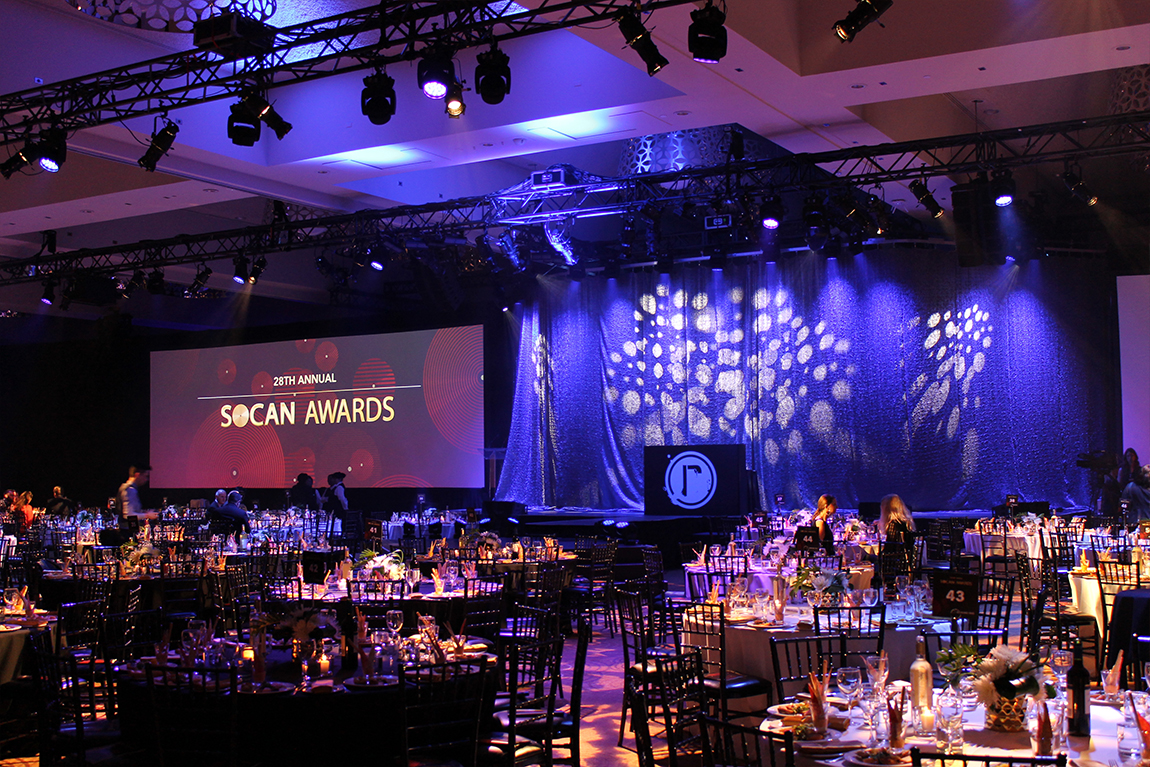 Stage and dinner table set-up at SOCAN Awards