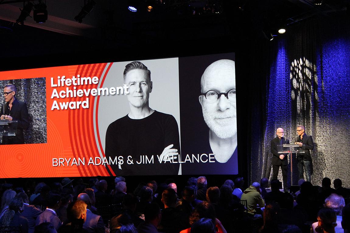 Bryan Adams & Jim Vallance accept Lifetime Achievement at SOCAN Awards