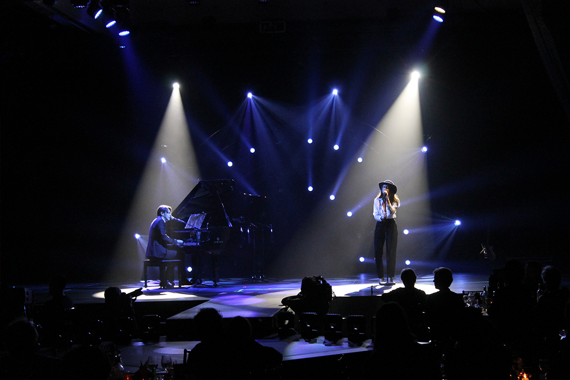 Pianist and singer performing on stage at SOCAN Awards