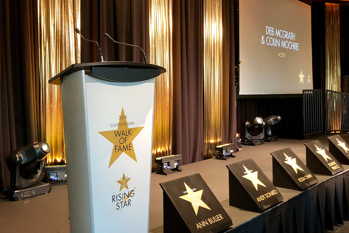 stage set-up for Scarborough Walk of Fame