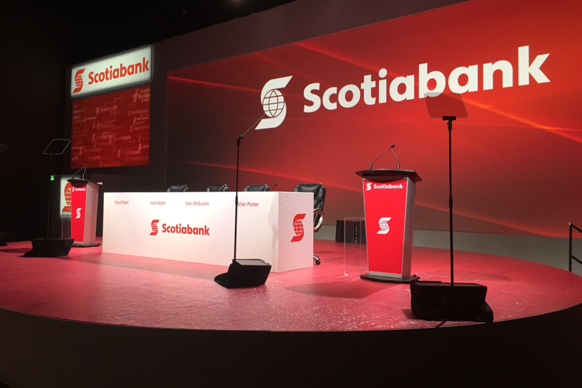 Stage, panelist and podium set-up at Scotiabank AGM