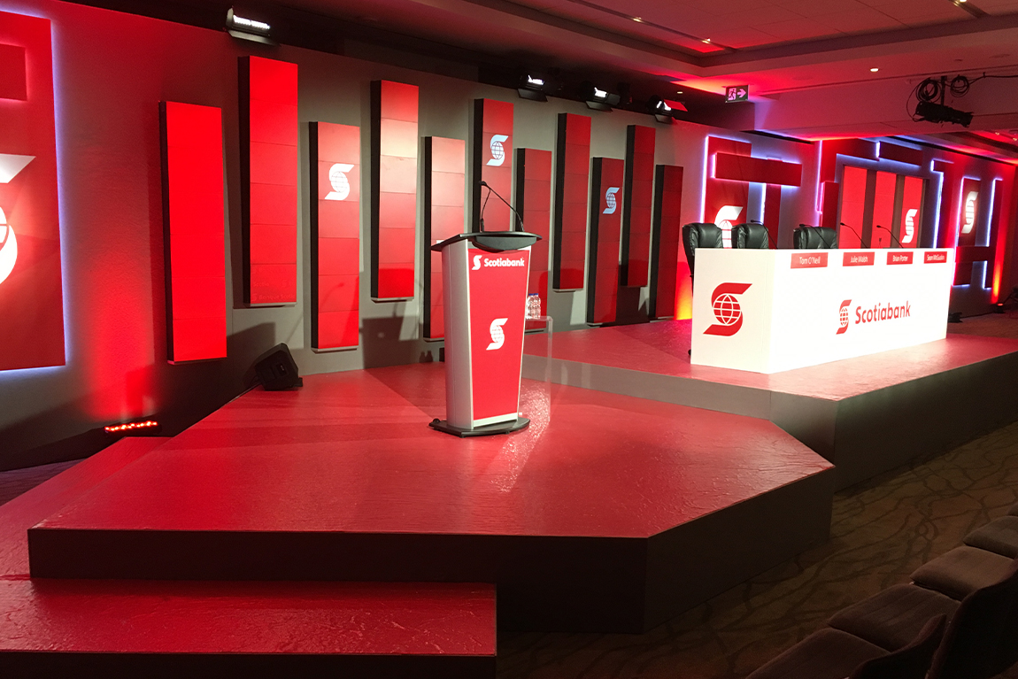 Stage, panelist, and podium set-up at Scotiabank AGM