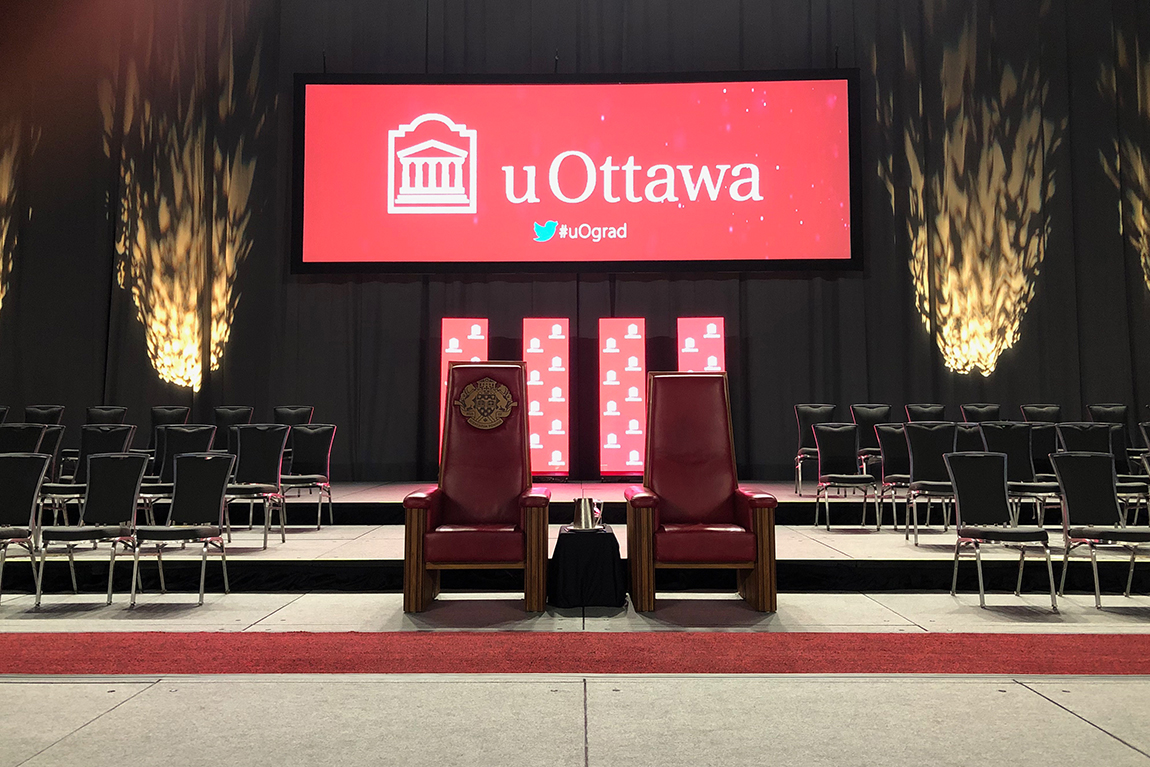 stage set-up and backdrop at U Ottawa convocation