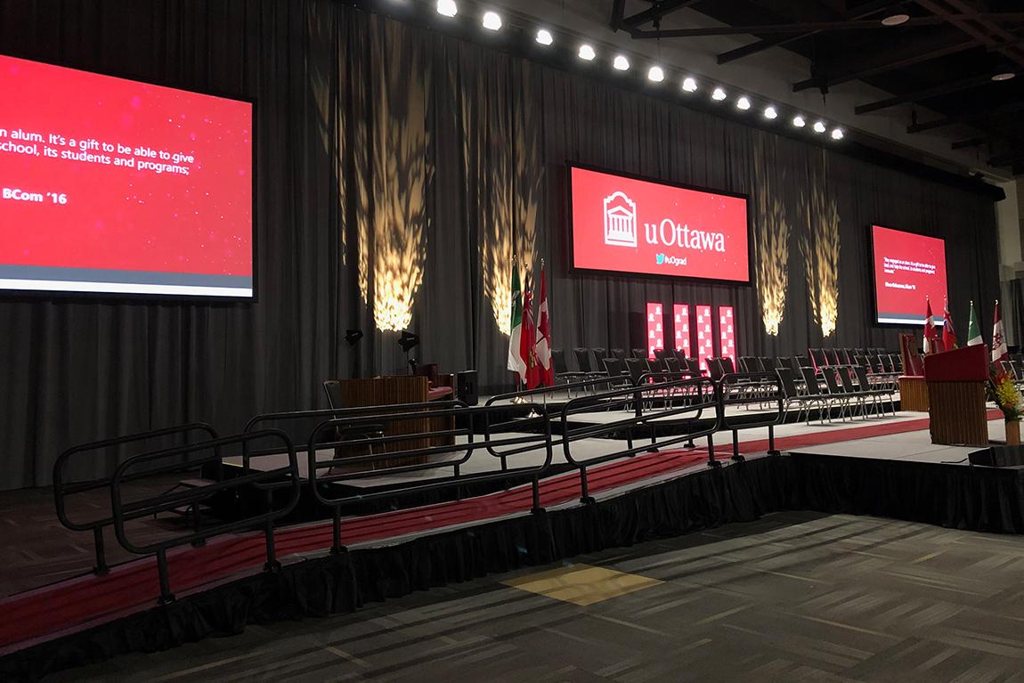 stage set-up at U Ottawa convocation