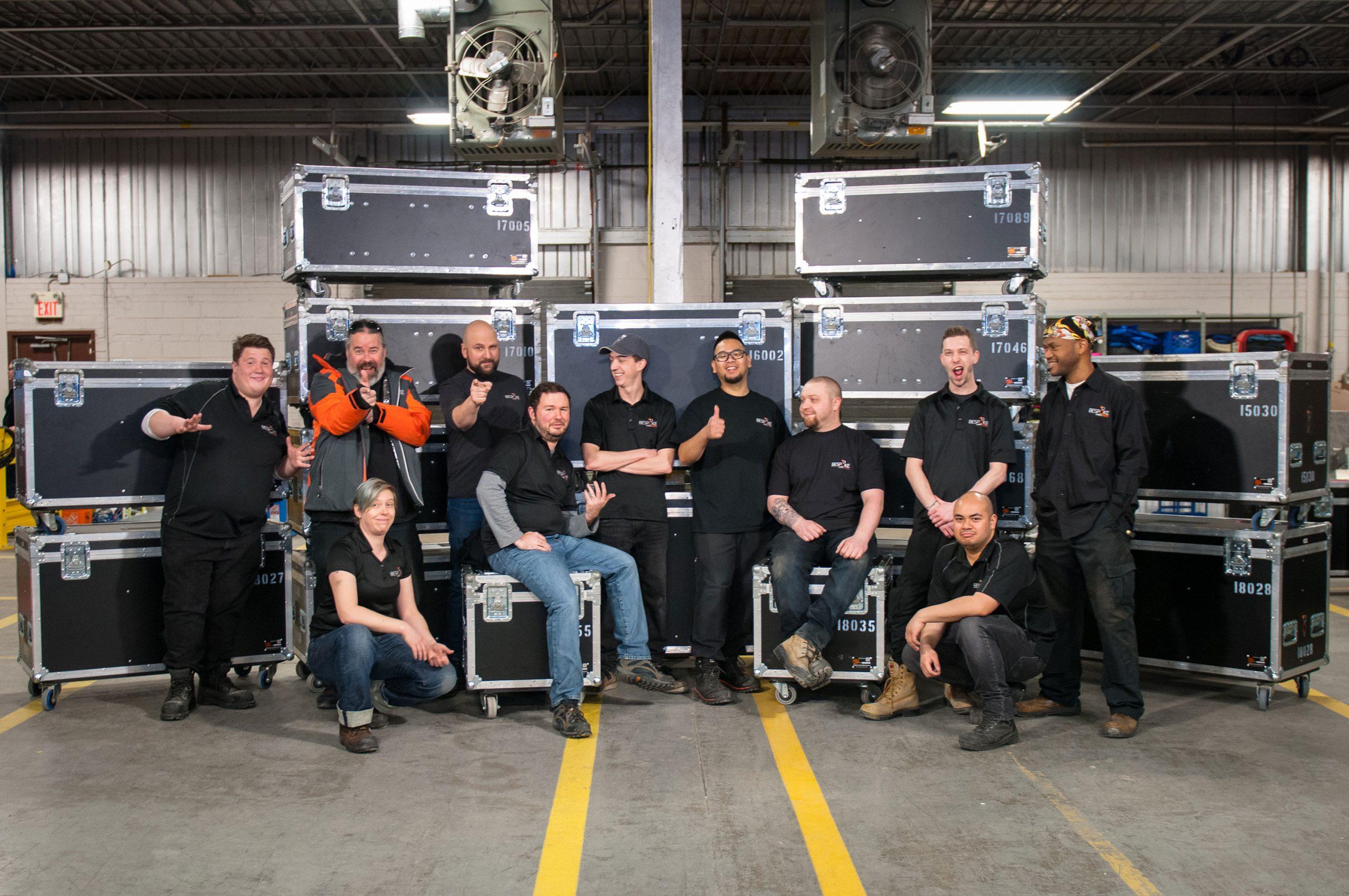 Bespoke Audio Visual warehouse team