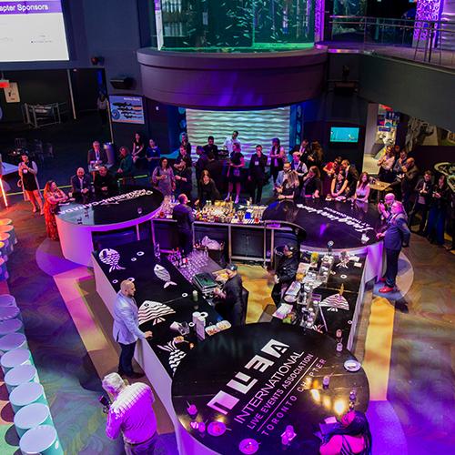 Bar set-up at International Live Events Association's Imaginarium at the Aquarium
