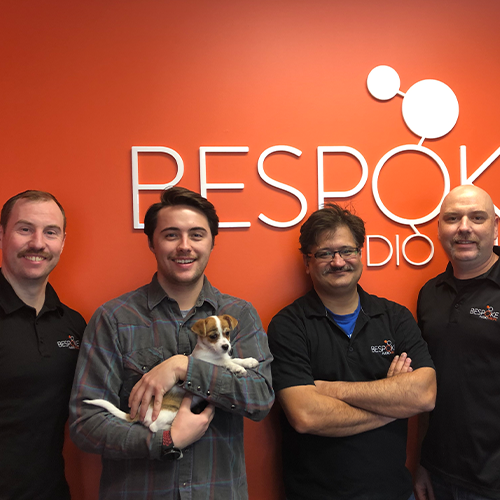 Bespoke Audio Visual team members with Movember moutaches