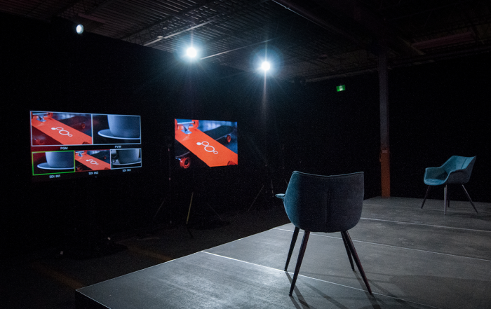 Audience Free Event - Bespoke studio with monitors and chairs on stage