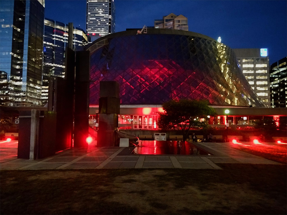 Roy Thomson Hall - exterior with event lighting