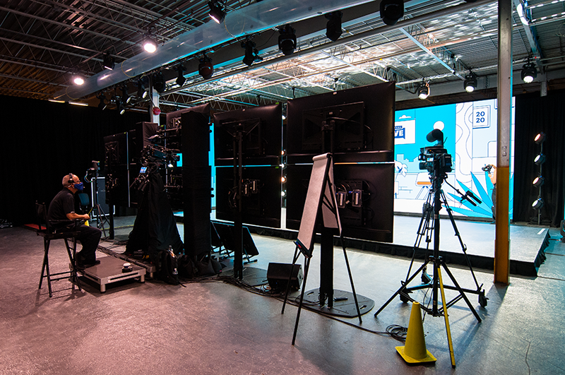 Bespoke AV virtual studio with cameras monitors and stage