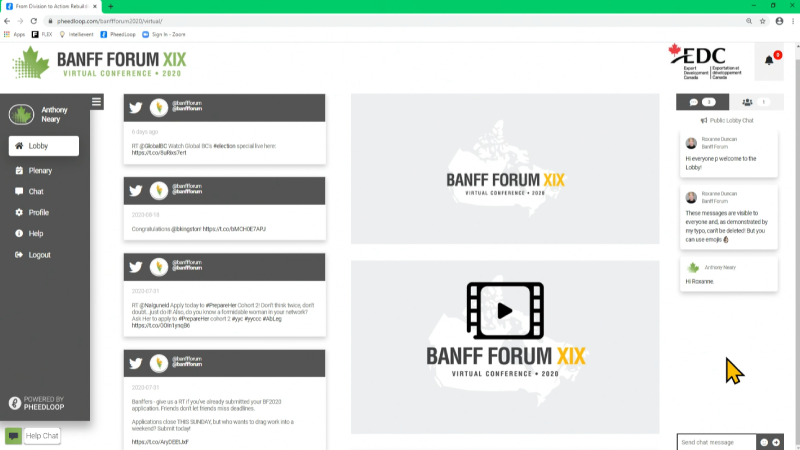 Banff-Forum-XIX screenshot of virtual event